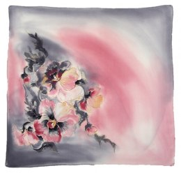 AM-539 Hand-painted silk scarf, 55x55 cm