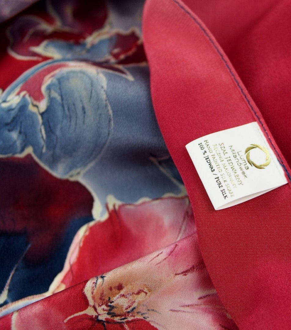 Large Red and blue hand-painted silk scarf, 250x90 cm