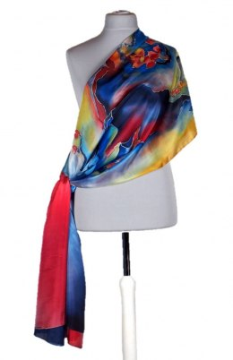 SZM-028 Large Multicolored Silk Scarf Hand Painted, 250x90 cm