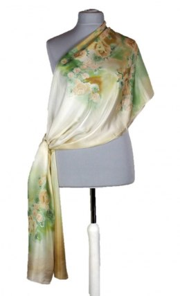SZM-029 Large Beige-green Hand-Painted Silk Scarf, 250x90 cm