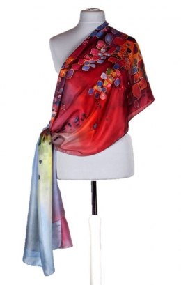 SZM-030 Large Red Hand-Painted Silk Scarf, 250x90 cm