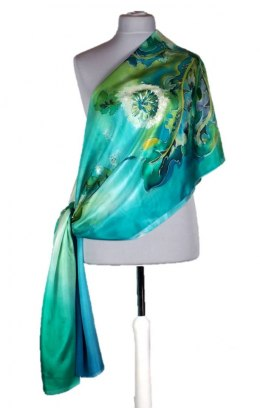 Large Green Hand-Painted Silk Scarf, 250x90 cm