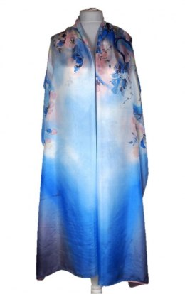 SZM-032 Large Blue Hand-painted Silk Scarf, 250x90 cm