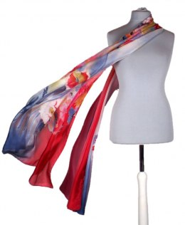 SZM-033 Large Red and navy blue hand-painted silk scarf, 250x90 cm