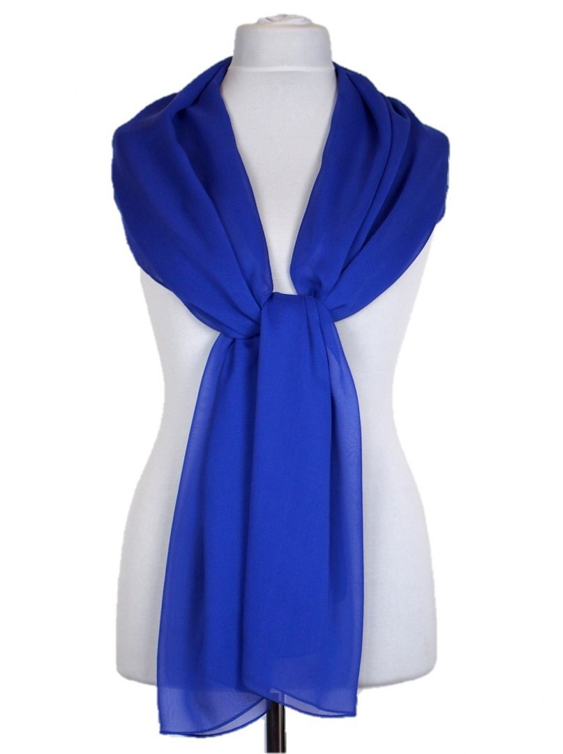 SZZ-002 One-color silk scarf - Georgette, 200x65cm (1)
