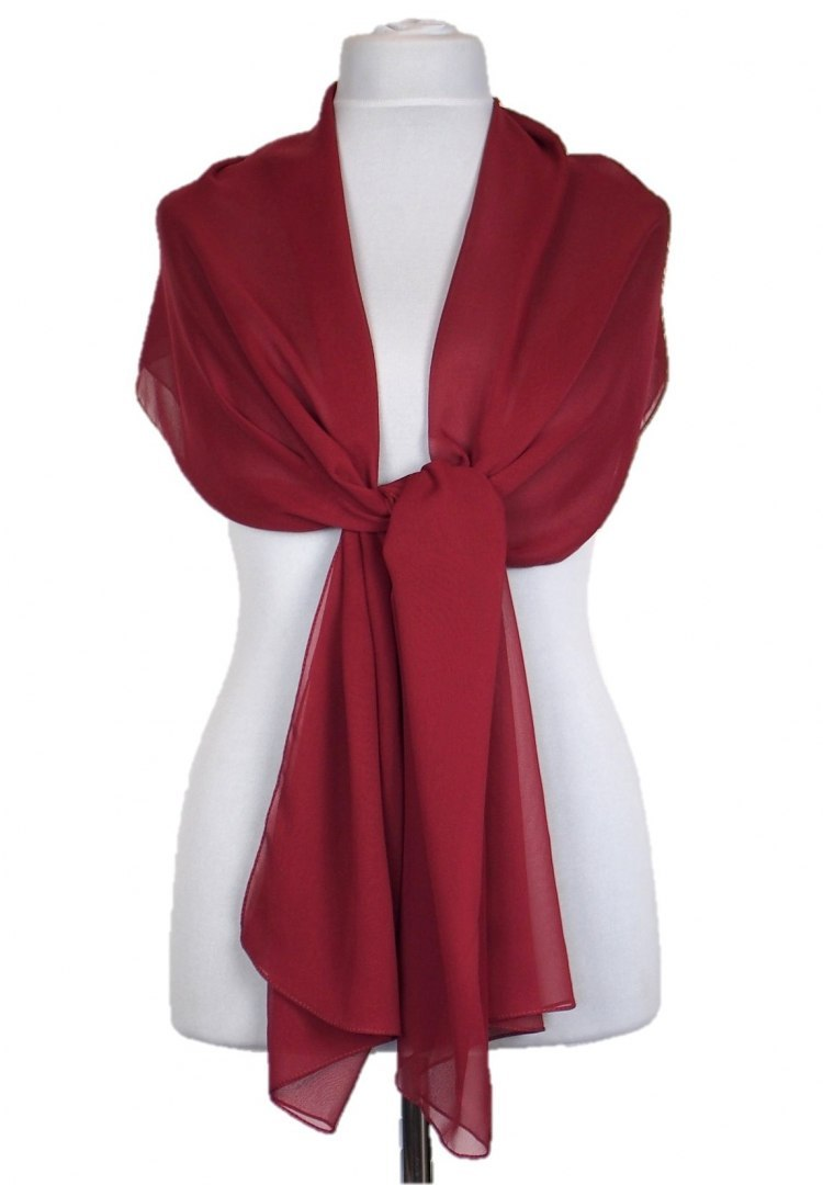SZZ-004 One-color silk scarf - Georgette, 200x65cm