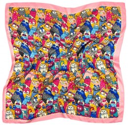 AP-002 Large Printeded Cats Scarf, 90x90