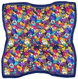 AP-003 Large Printeded Cats Scarf, 90x90