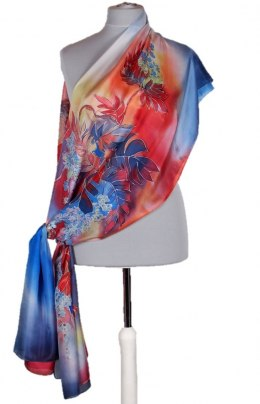 SZM-035 Large Red and Blue Hand-Painted Silk Scarf, 250x90cm