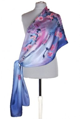 SZM-036 Large Blue and pink Hand-painted silk scarf, 250x90cm