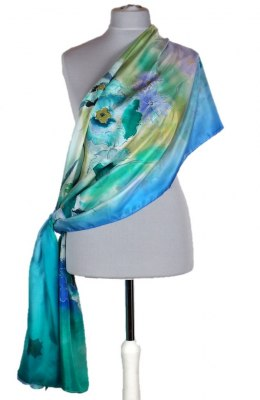 SZM-037 Large Green-blue Hand-Painted Silk Scarf, 250x90cm