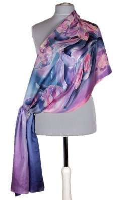 SZM-038 Large Navy Blue and Pink Hand Painted Silk Scarf, 250x90cm