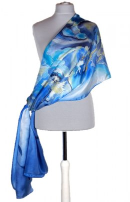Large Light Blue Hand-Painted Silk Scarf, 250x90cm