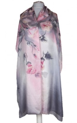 SZM-041 Large Gray-Pink Hand-Painted Silk Scarf, 250x90cm