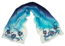 SZ-069 Blue-turquoise Hand Painted Silk Scarf, 170x45 cm