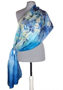 SZM-044 Large Blue Hand-Painted Silk Scarf, 250x90cm