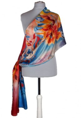 SZM-042 Large Orange and Blue Hand-Painted Silk Scarf, 250x90cm