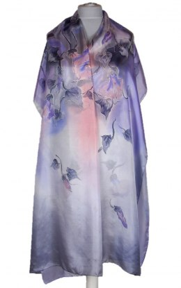 SZM-043 Large Violet-Gray Silk Scarf Hand Painted, 250x90cm