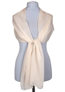 SZZ-006 Single Color Beige Silk Scarf - Georgette, 200x65cm