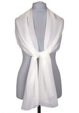 SZZ-008 Single Color White Silk Scarf - Georgette, 200x65cm