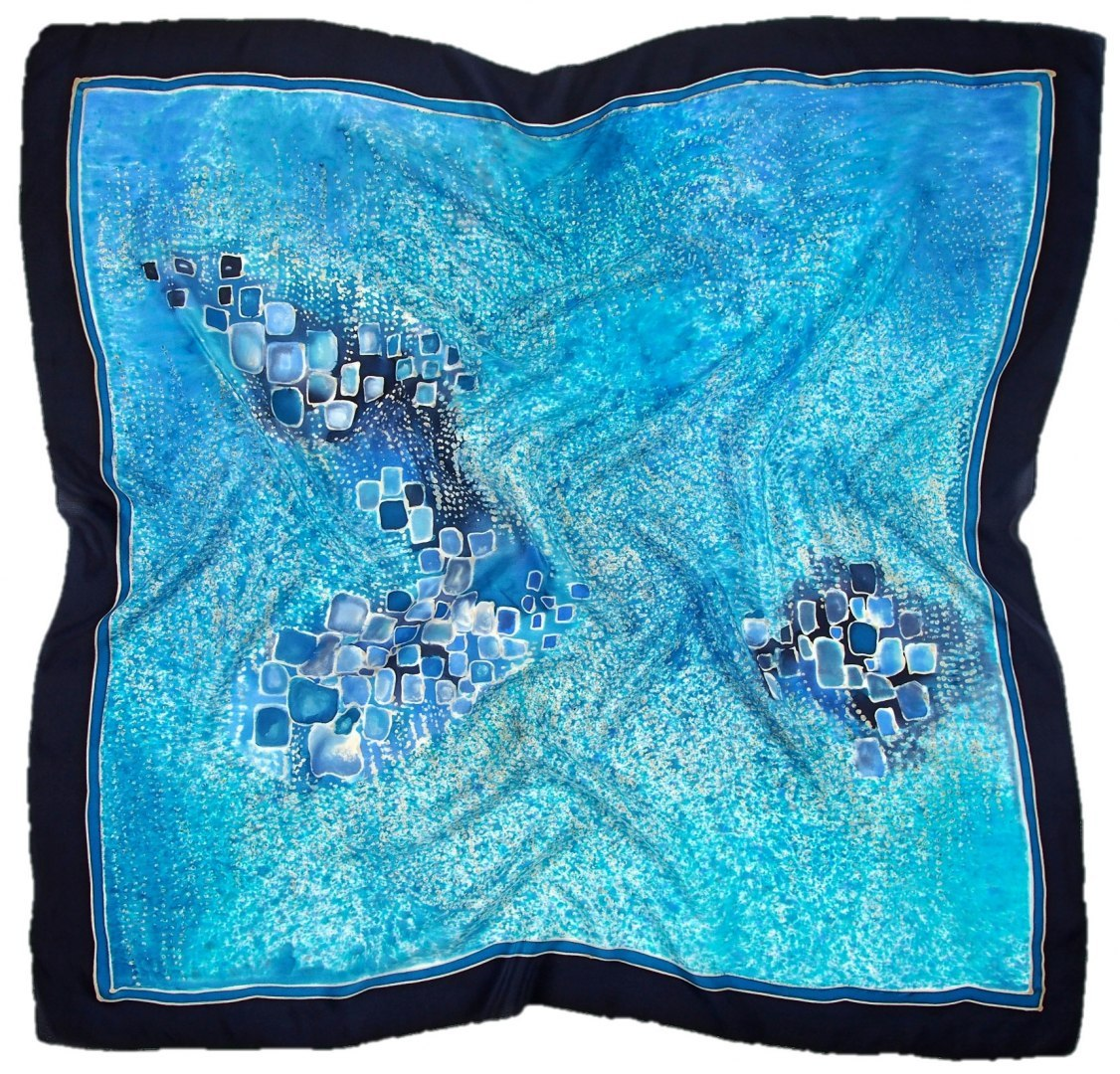 AM-485 Hand-painted silk scarf, 90x90cm (1)
