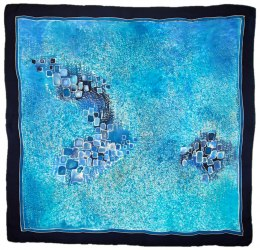 AM-485 Hand-painted silk scarf, 90x90cm