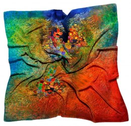 AM5-205 Hand-painted silk scarf, 70x70 cm