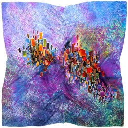 AM-487 Hand-painted silk scarf, 90x90cm