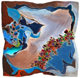 AM-488 Hand-painted silk scarf, 90x90cm