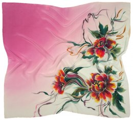AM-660 Hand-painted silk scarf, 90x90cm