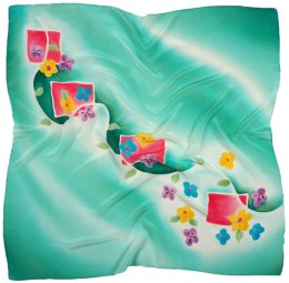 AM-667 Hand-painted silk scarf, 90x90cm