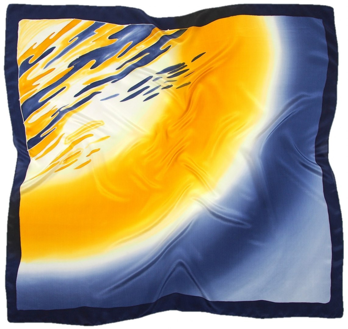 AM-671 Hand-painted silk scarf, 90x90cm