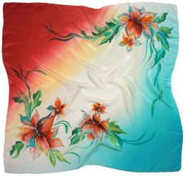 AM-672 Hand-painted silk scarf, 90x90cm