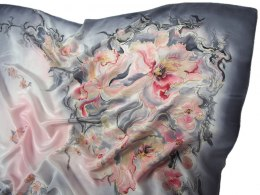 AM-752 Hand-painted silk scarf, 110x110cm