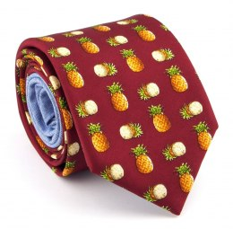 Maroon silk tie with pineapples - MILANO