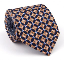 Navy Blue Silk Tie with Gold Pattern - MILANO