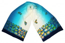 SZ-039 Turquoise Hand Painted Silk Scarf, 170x45 cm