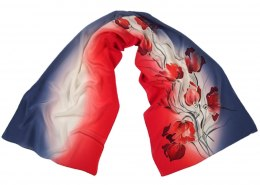 SZ-341 Blue-Red Hand Painted Silk Scarf, 170x45 cm
