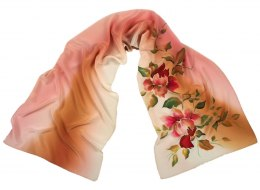 SZ-339 Brown-Pink Hand Painted Silk Scarf, 170x45 cm