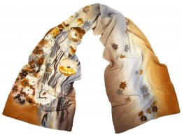 SZ-325 Brownish-gray Hand Painted Silk Scarf, 170x45 cm