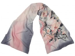 SZ-326 Gray-pink Hand Painted Silk Scarf, 170x45 cm