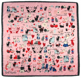 AP-009 Large Printeded Cats Scarf, 90x90