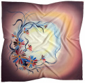 AM-694 Hand-painted silk scarf, 90x90cm