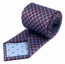 Patterned burgundy silk tie - MILANO