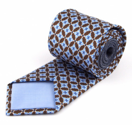 Brown Silk Tie with Blue Patterns - MILANO
