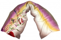 Beige and lilac Hand Painted Silk Scarf, 170x45 cm