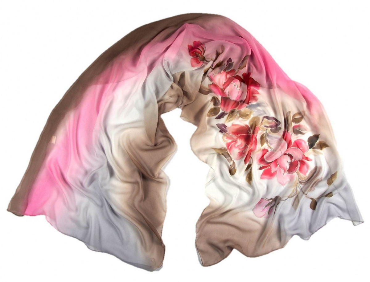 Brown-Pink Hand Painted Silk Scarf, 170x45 cm