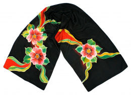 SZ-099 Black Hand Painted Silk Scarf, 170x45 cm