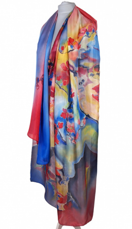 SZM-046 Large Red and Blue Hand-Painted Silk Scarf, 250x90cm
