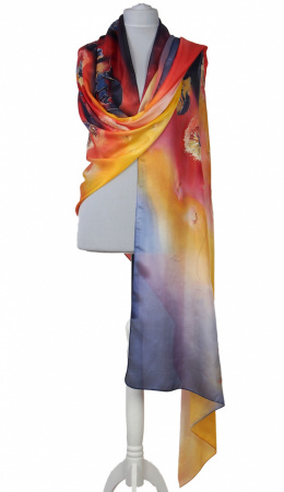 SZM-054 Large Red and Yellow Handpainted Silk Scarf, 250x90cm